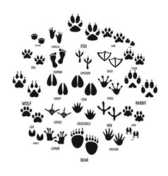 animal footprint icons set simple style vector image