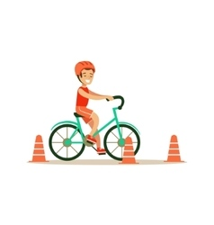 Boy riding bicycle kid practicing different vector