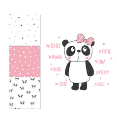 cute little panda surface design and 3 seamless vector image vector image