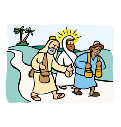 jesus on the road to emmaus vector image