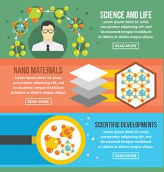 molecule science banner horizontal set flat style vector image vector image