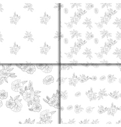 set of four black and white floral patterns vector image vector image