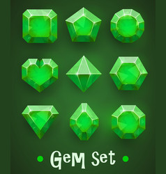 set of realistic green gems of various shapes vector image vector image