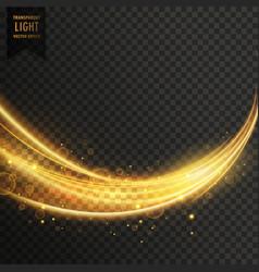 abstract golden transparent light wavy streak vector image