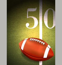 american football sitting on turf field vector image vector image