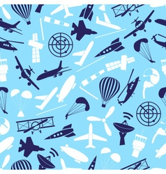 aviation icons set blue seamless pattern eps10 vector image vector image