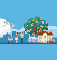 Family horizontal banner tree cartoon style vector