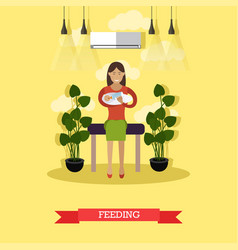 feeding concept in flat style vector image