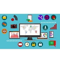 Flat madia icons infographic vector image
