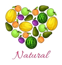Natural fruits poster of fruit heart shape vector image vector image