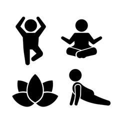 Yoga Meditation Poses Icons Set vector image