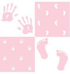 baby girl handprint footprint set vector image