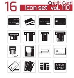black credit cart icons set vector image