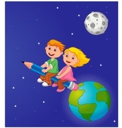 Boy and girl riding a pencil leaving the earth vector image