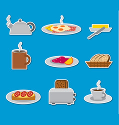 breakfast stickers and badges vector image vector image