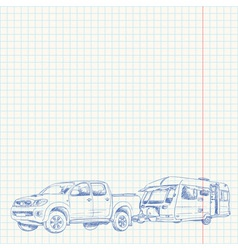Caravan and Car sketch vector image