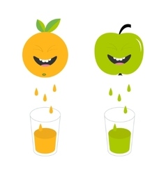 Fresh juice and glasses Apple orange fruit with vector image vector image