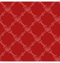 Ornamental seamless pattern with hearts on red vector image vector image