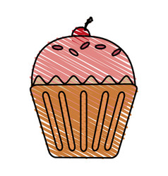 color drawing pencil cartoon cupcake with cherry vector image vector image