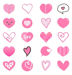 Cute set collection of pink hearts vector image
