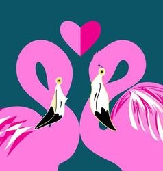 graphics in love pink flamingos on a blue vector image vector image