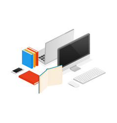 isometric computer laptop office flat vector image vector image
