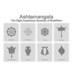 monochrome icons set with eight auspicious symbols vector image