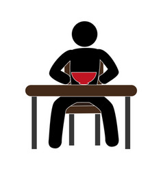 pictogram with man in the table having breakfast vector image