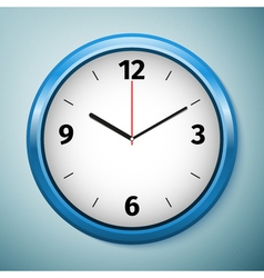 Realistic classic blue round wall clock icon vector image vector image