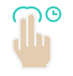 2 finger press and hold flat icon touch gesture vector