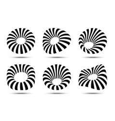 3d circular striped logo set distort shapes vector