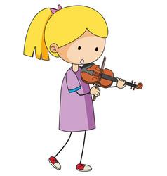 a doodle kid playing violin cartoon character vector image