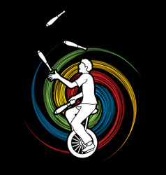 A man juggling pins while cycling on bicycle vector