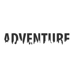 adventure text or labels with silhouette of vector image