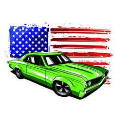 american 70s customized muscle car eps10 vector image