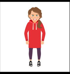 angry girl in a red hoodie vector image