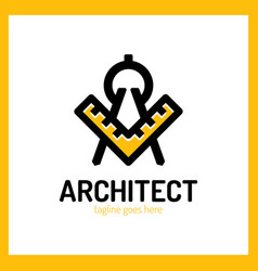 architect letter a logo - ruler vector image