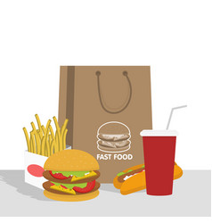 banner with fast food with cola hamburger and vector image