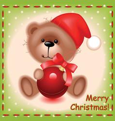 Bear with a christmas ball vector