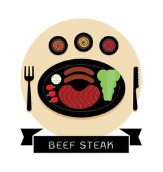 beef steak and sausage with salad top view vector image