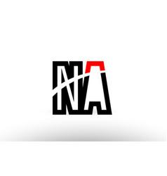 black white alphabet letter na n a logo icon vector image