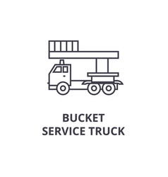 bucket service truck line icon sign vector image