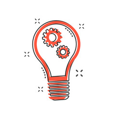 cartoon light bulb with gear icon in comic style vector image