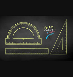chalk drawn collection rulers vector image
