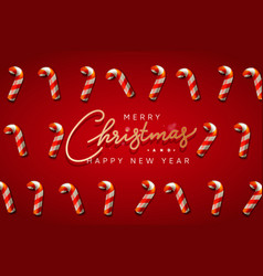 christmas background with candy canes decorative vector image