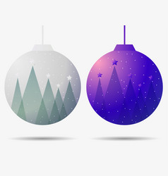 christmas ball with falling snow and fir trees vector image