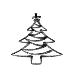 christmas tree painted with spray paint black vector image