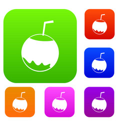 coconut with straw set collection vector image