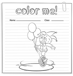 Coloring worksheet with a clown vector