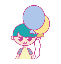 cute boy with balloons and hairstyle design vector image